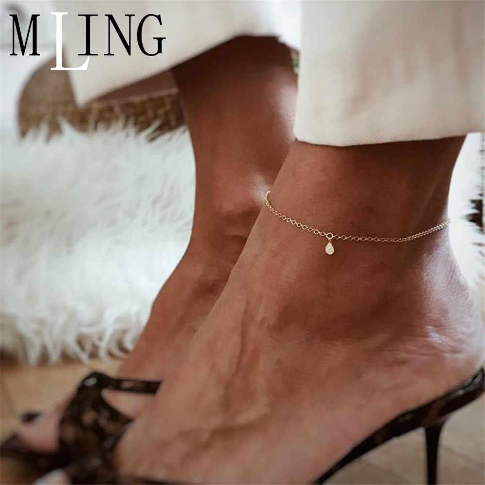 MLING Simple Link Chain Summer Crystal Anklet Fashion Water Drop Anklet For Women