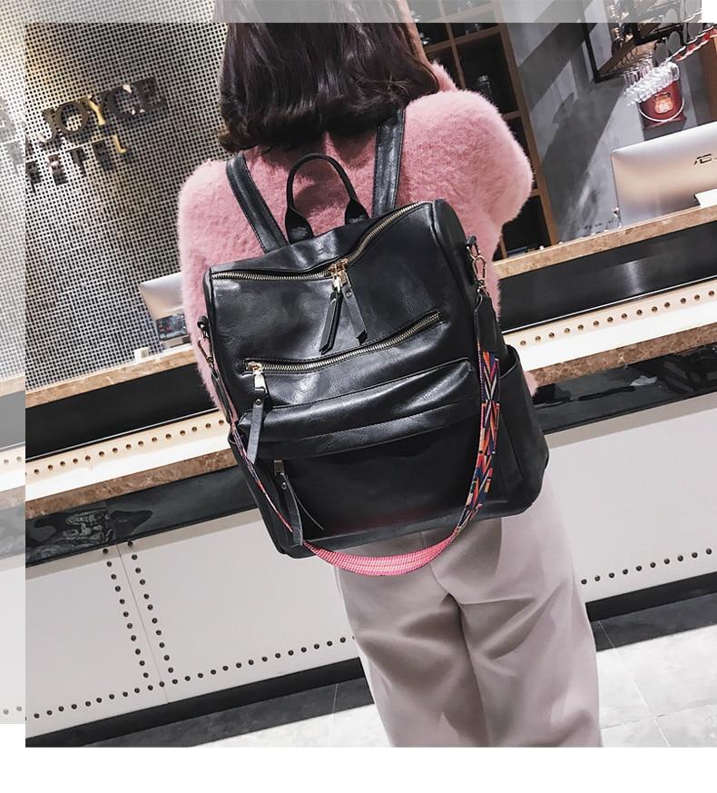 H4b8b6dd4e6cf42d8805f770a81eaad28Y Leather Backpack Women 2019 Students School Bag Large Backpacks Multifunction Travel Bags Mochila Pink Vintage Back Pack XA529H