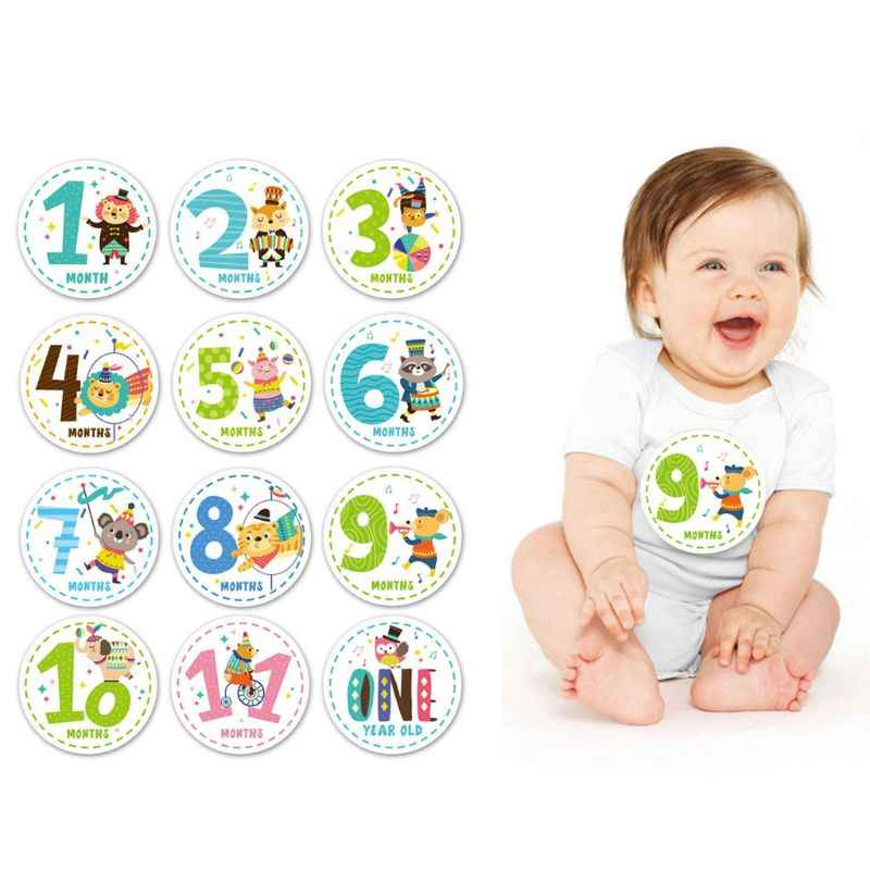 1-12 Months Baby Monthly Stickers Newborn First Year Age & Growth Tracking Stickers Shower Registry Gift & Scrapbook Photo Keeps