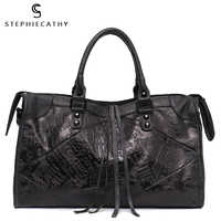 SC Большие женские кожаные сумки, женские Ретро Винтажные итальянские кожаные сумки через плечо для девушек, Большая вместительная роскошна...