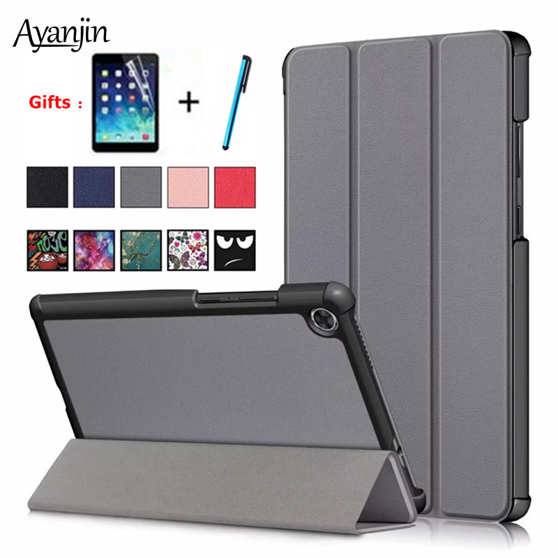 For Lenovo Tab M8 Case PU Leather Folding Stand Cover For Lenovo Tab M8 TB-8505F TB-8505X TB-8505I 8.0 Inch Tablet Case+Film+Pen