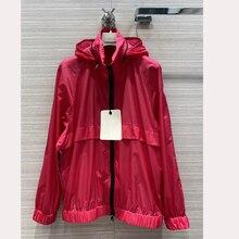 High quality women trench coat unisex windbreaker thin coat pink black color hoo