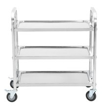 3 Layers Stainless Steel Kitchen Trolley Wheeled Storage Rack Mobile Dining Car Rolling Cart Bathroom Office Transport Trolleys