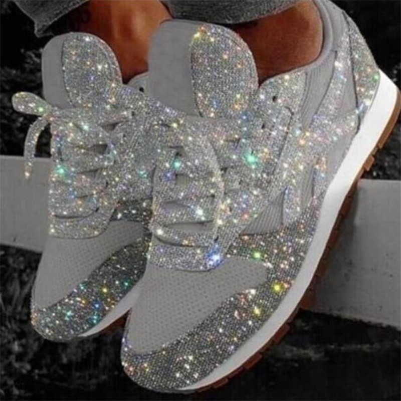 Women's Casual Sneakers Trendy Breathable Crystal Sequins Lace Up Low-Top Round Women Running Shoes Bling Scarpe Donna