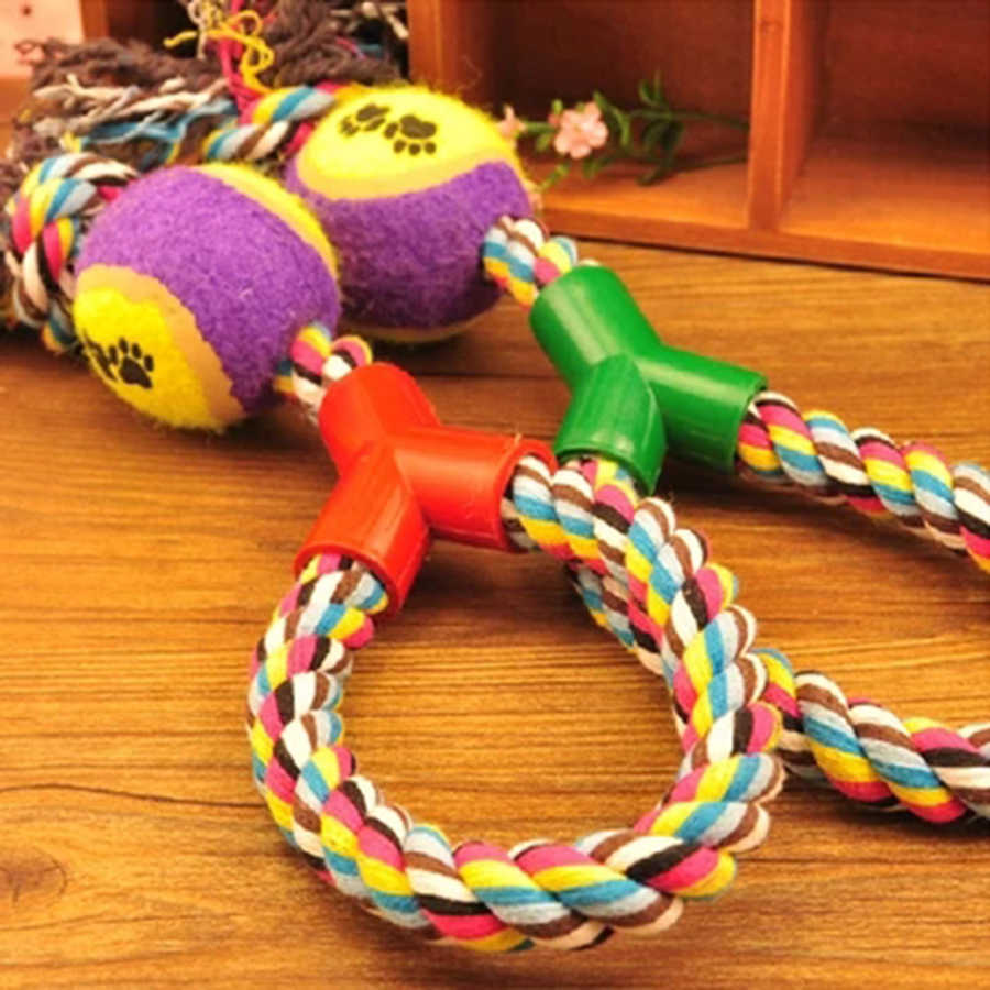 Intéressant jouets pour animaux de compagnie Tennis coton corde jeux morsure chien mâcher jouet couineur Mascotas Juguetes Perros jeux interactifs animaux de compagnie BB50DT