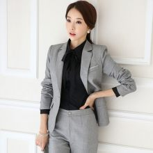 Büro Damen Formale Business Arbeit Rock Anzug Slim Fit Kerb Kragen Blazer Rock Set Frauen Herbst Jacke Uniform Outfits Anzüge(China)