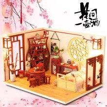 Деревянный кукольный домик «сделай сам» в античном стиле, миниатюрный кукольный домик с мебелью, сборные Обучающие игрушки, подарок для дет...