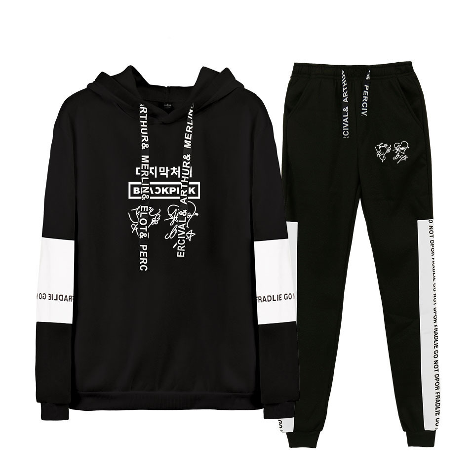 Leisure Suit Blackpink-a South Korean GIRL'S Team Related Products Korean-style Trend Sweater Pants Two-Piece Set