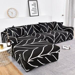 Image 1 - เรขาคณิตโซฟาชุดผ้าฝ้ายที่นอนยืดหยุ่นสำหรับห้องนั่งเล่นสั่งซื้อ 2 ชิ้นถ้าL chaise Longueโซฟา