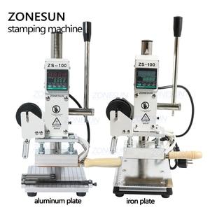 Image 2 - ZONESUN ZS100 دليل PVC بطاقة الجلود ورقة شعار الساخن ختم البرنز النقش آلة لكمة الحرارة الصحافة آلة 5x10cm