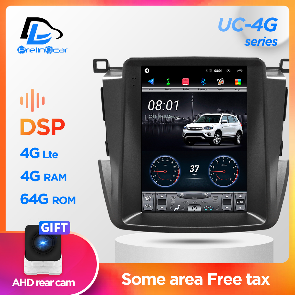 Car Radio Multimedia Navigatio Video Player For Toyota RAV4 2013-2019 Tesla style Vertical Screen Stereo No 2 din Android 9.1 image