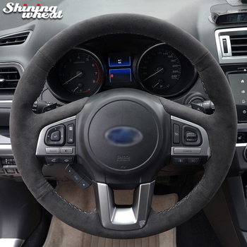 Hand Sew Black Suede Car Steering Wheel Cover for Subaru Legacy XV 2015-2017 Outback 2014-2017 Forester 2015-2018