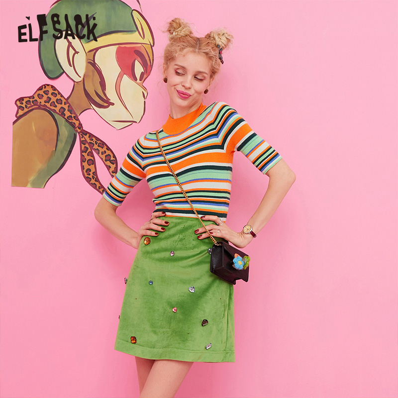 ELF SACK Colorful Striped Knitted Top And Beads Skirt Women Korean Two Piece Set 2019 Autumn Casual Ladies Matching Sets-in Women's Sets from Women's Clothing    1