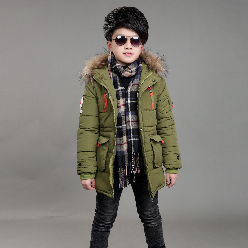 Children Winter Double Zipper Cotton Jackets Boys Thickening Fur Collar Hooded Cotton Jacket Children's Warm Outerwear Coats