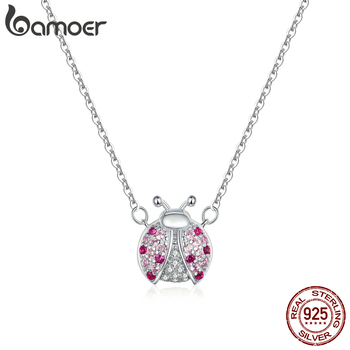 bamoer Genuine 925 Sterling Silver Pink CZ Ladybug Insect Chain Pendant Necklace for Women 45cm Kid Gifts Fine Jewelry SCN400 - discount item  46% OFF Fine Jewelry