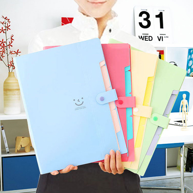 A4 Kawaii Carpetas Smile Waterproof Carpeta File Folder 5 Layers Archivadores Anillas Document Bag Office Stationery 4 Color