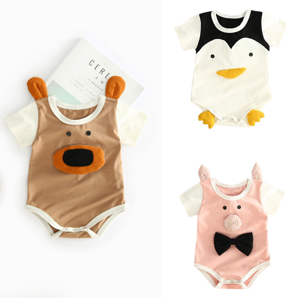 Cartoon Owl Printed Newborn Toddler Baby Short-Sleeved Bodysuit Jumpsuit Outfits