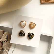 Korean jewelry simple sweet heart shaped earrings golden foil resin celebrity student girl gifts