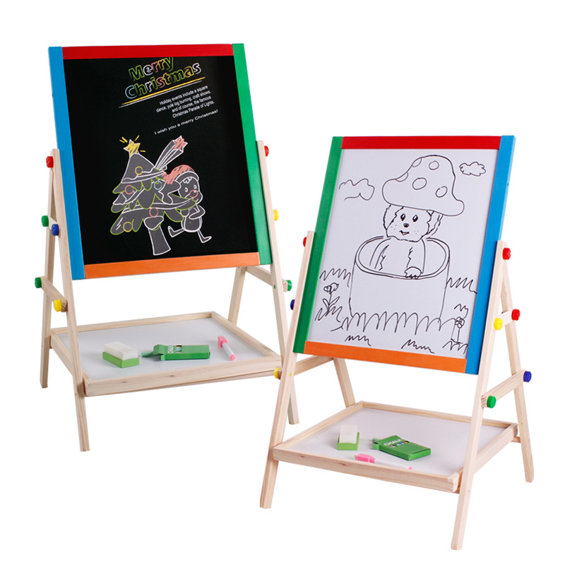 Color Solid Wood Double-Sided Magnetic Drawing Board Small Blackboard Braced Drawing Board CHILDREN'S Drawing Board Easel