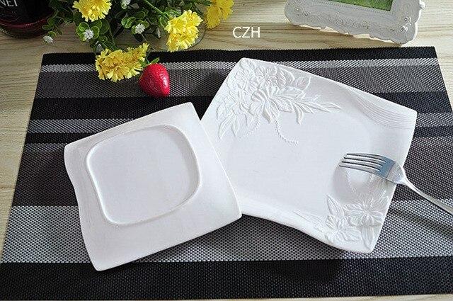 Service d'assiettes plates en céramique   Assiette décorative en porcelaine, vaisselle de service pour la salade du bœuf et du Steak - 4