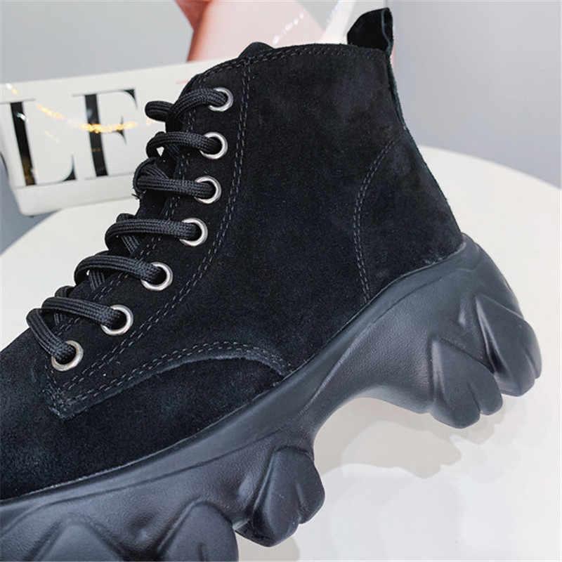 Zwarte Koe Suède Motorfiets Cowboy Platform Laarzen Punk Combat Enkellaarsjes Voor Vrouwen Schoenen Sneakers 2019 Nieuwe Winter Laarzen Vrouwen