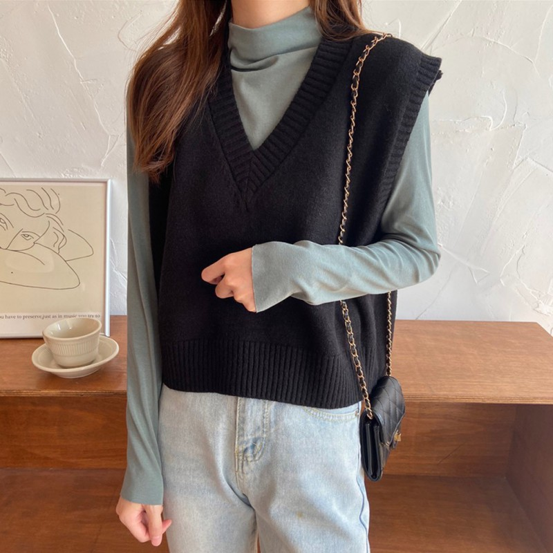 Women's Fashion V Neck Knit Solid Color Vest Loose Casual Sleeveless Sweater Outwear