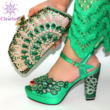 2020 NEW GREEN With Print Desgin Shoes And Evening Bag Set Hot Sale Sandal Shoes With Handbag  Heel Height 11.5CM