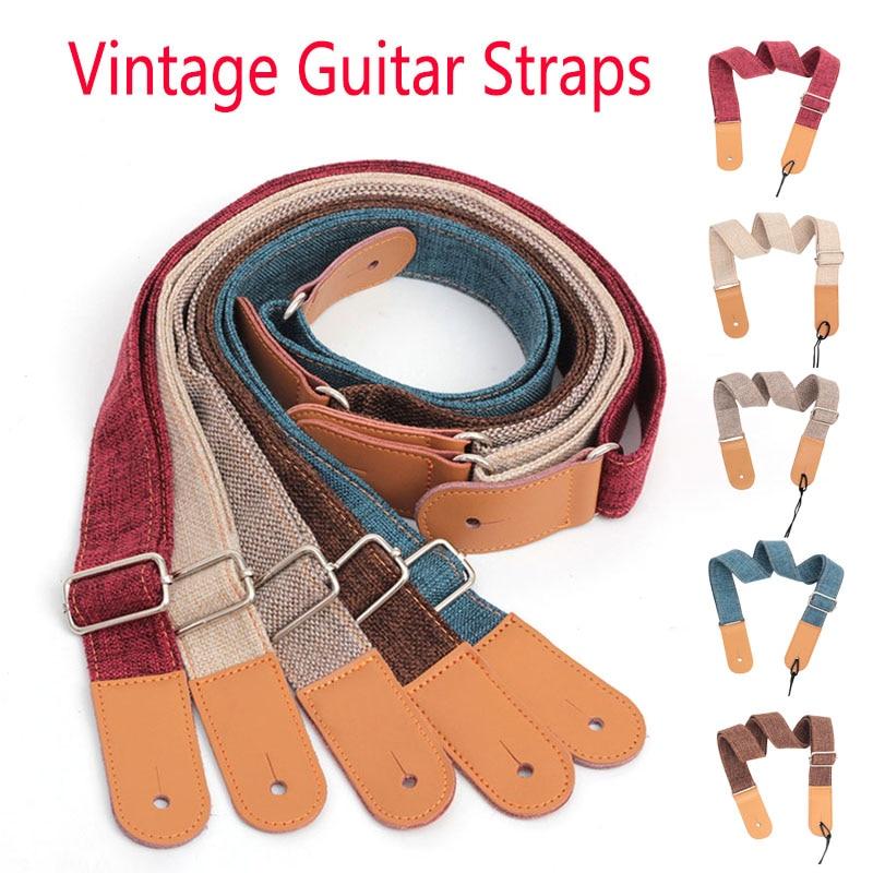 75-130cm Vintage Guitar Straps Linen Cotton Adjustable Ukulele Strap Leather Ends Strap Guitar Acoustic Electric Guitar Stripes