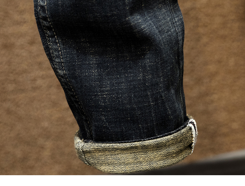 KSTUN Punk Jeans Men Slim Fit Stretchy High Street Wear Retro Blue Casual Denim Jeans Pants Mens Biker Jeans Vintage Spring and Autumn 18