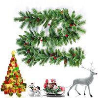 Christmas Rattan Garland Tree Pine Cone Hanging Fireplace Cane Home Garden Decor D0AC