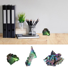 1pc Irregular Rare Rainbow Titanium Coated Bismuth Gemstone High Purity Mineral Rock Crystal Specimen Home Metal Ornaments Stone(China)