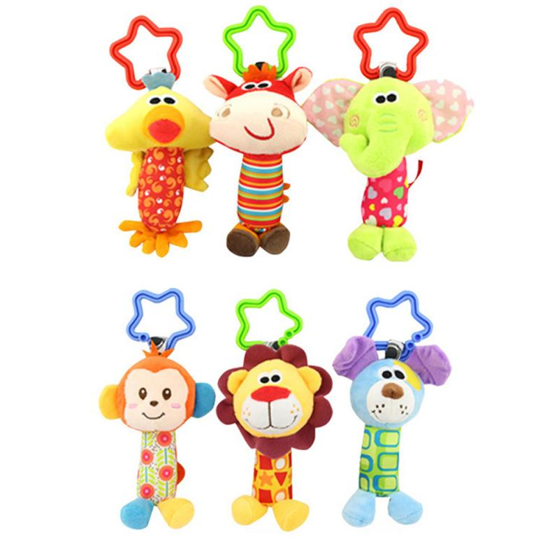 Infant Baby Kids Rattle Toys Wrist Rattle Mobiles Infant Car Bed Hanging Animal Hand Grab Rattleor Newborn Children Xmas Gift