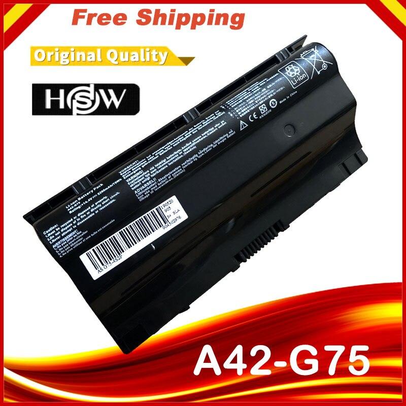 5200mAh Laptop Battery For Asus G75VW G75 G75VX G75V 3D A42-G75 G75VM G75VW-DS73 G75VW-FS71 G75VW-FS72