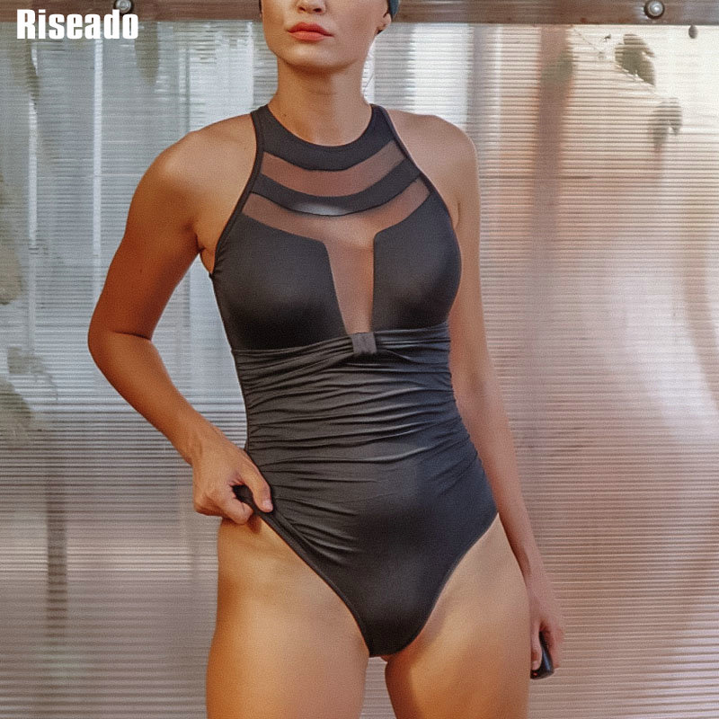 Riseado New One Piece Swimsuit Halter Push Up Swimwear Women Sexy Mesh Plunging Swim Wear Ruched Summer Beachwear Bathing Suits 1