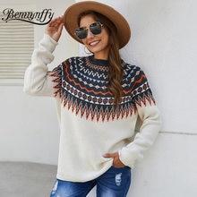 Benuynffy vintage étnico impressão feminina camisola pulôver outono inverno coreano moda quente camisola superior feminino o-pescoço malha jumper