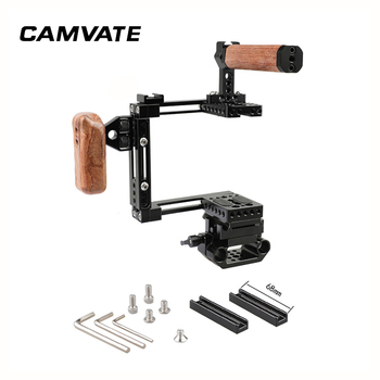 CAMVATE Adjustable Half Cage Kit With Manfrotto Quick Release Plate 15mm Railblock Base + Wooden Handgrip C2440