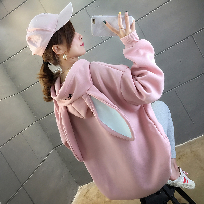 M-2XL Female Cotton Sweatshirt Bunny Ear Spring Autumn Plus Size Loose Oversize O-necked Long Sleeve Letter Printed Japan A83
