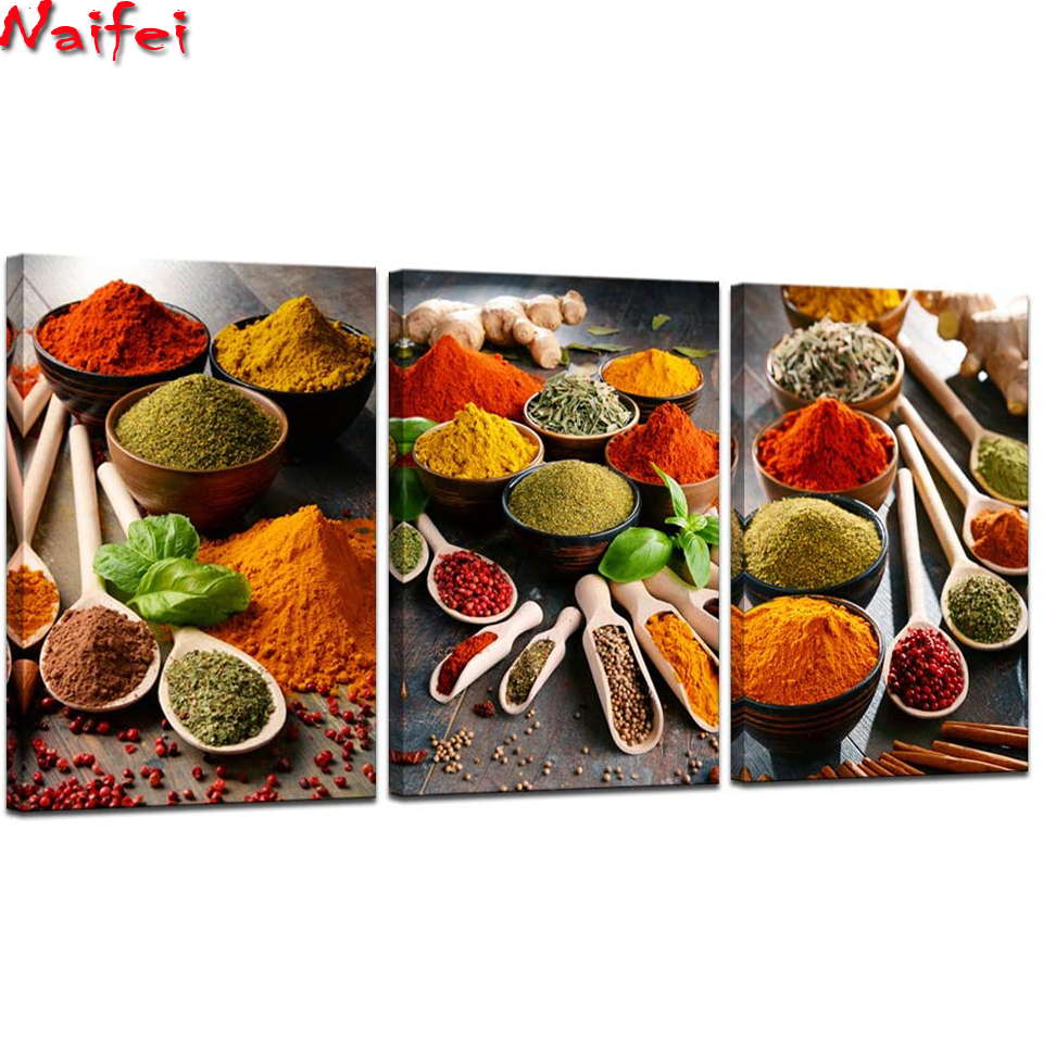 3 Piece Colorful Spices and Spoon Diamond painting Vintage Kitchen decor 5d full square Diamond Embroidery diamond Mosaic puzzle