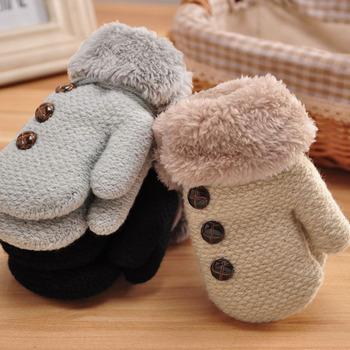 3-7Y dziecięce zimowe rękawiczki ciepłe dzianinowe rękawiczki dziewczęce chłopięce liny pełne rękawiczki rękawiczki dla dzieci maluch puchate rękawiczki tanie i dobre opinie CN (pochodzenie) Akrylowe Acrylic fibres+Lining plush velvet Cartoon baby Unisex VF0592 8*13cm 3 1*5 1inch 3-7years old