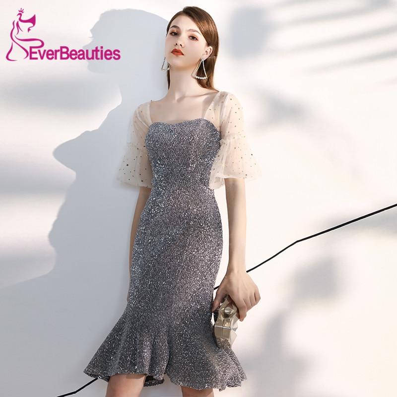 Silvery Vestido   Cocktail   Short   Cocktail     Dresses   Tulle 2019 Half Sleeves Shiny Sequins Robe   Cocktail   Fairy Sukienka Koktajlowa