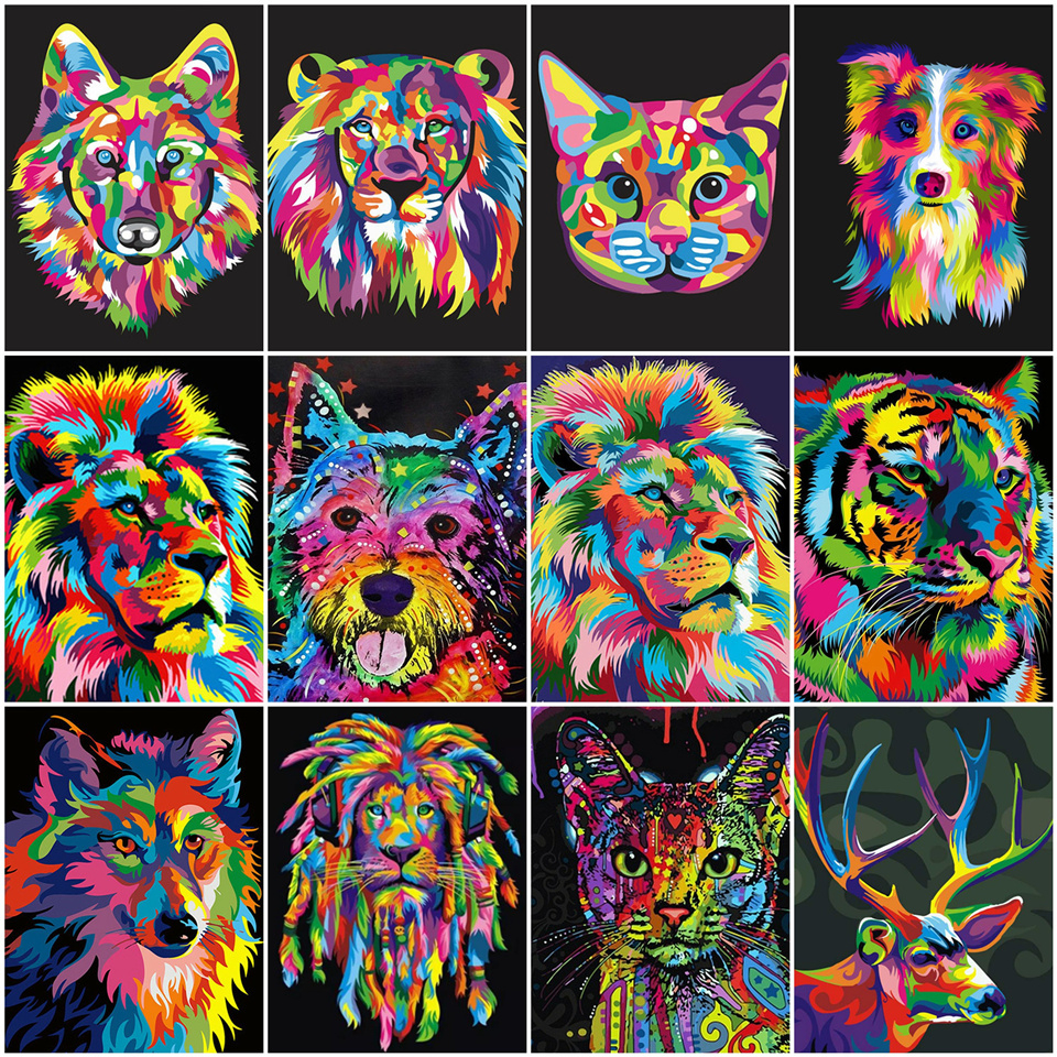 AZQSD Oil Painting By Numbers Lion DIY Acrylic Kids Paint Wall Art Coloring By Numbers On Canvas Kit Animal Handmade Gift