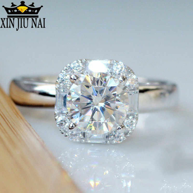 1 Carat Cubic Zircon CZ Diamant Nhẫn Cưới Cho Nữ Chính Hãng 925 Anillos Bạc Solitairenight Câu Lạc Bộ Tiaodi Nhấp Nháy 925 Vòng