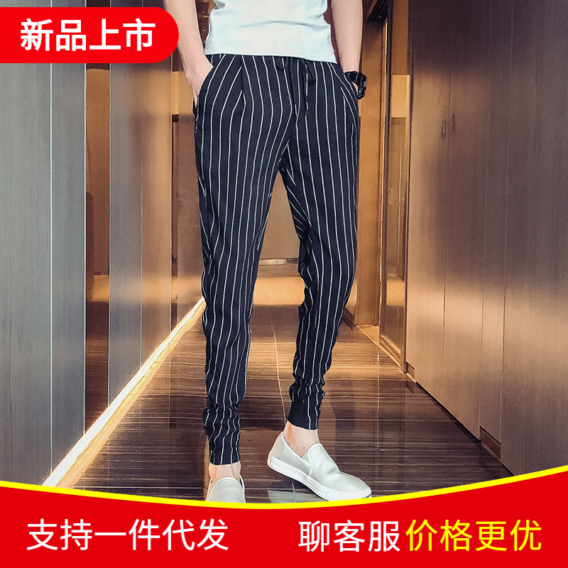 Hong Kong Style 2019 Summer Thin Section Men Stripes Skinny Casual Pants Korean-style Slim Fit Ankle Banded Pants Youth Harem Pa