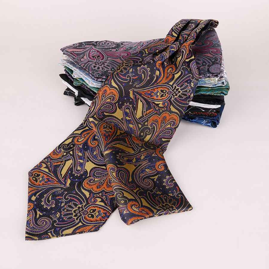 Linbaiway lüks erkek Ascot kravat Paisley çiçek jakarlı dokuma İpek kravat kendinden kravat kravat atkısı gömlek kravat özel Logo