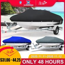 X AUTOHAUX 14 22ft 210D Trailerable Boat Cover Waterproof UV Protector Fishing Speedboat V shape Black Sunproof Boat Cover