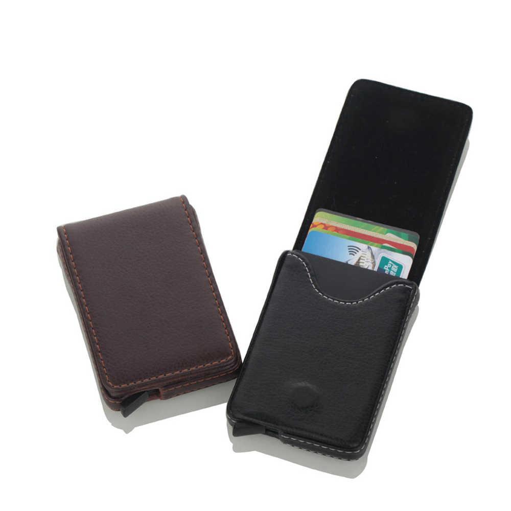 1 pièce en cuir Pu nouveaux porte-carte d'identité RFID en alliage d'aluminium crédit portefeuille porte-cartes antivol hommes automatique Pop Up RFID portefeuille