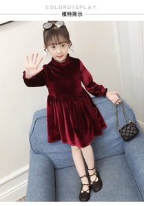 Image 5 - 4Colors New Girl Gold Velvet Spring Autumn Dress Girls Kids White Lace Flower Princess Dresses Children Clothes 3 14T