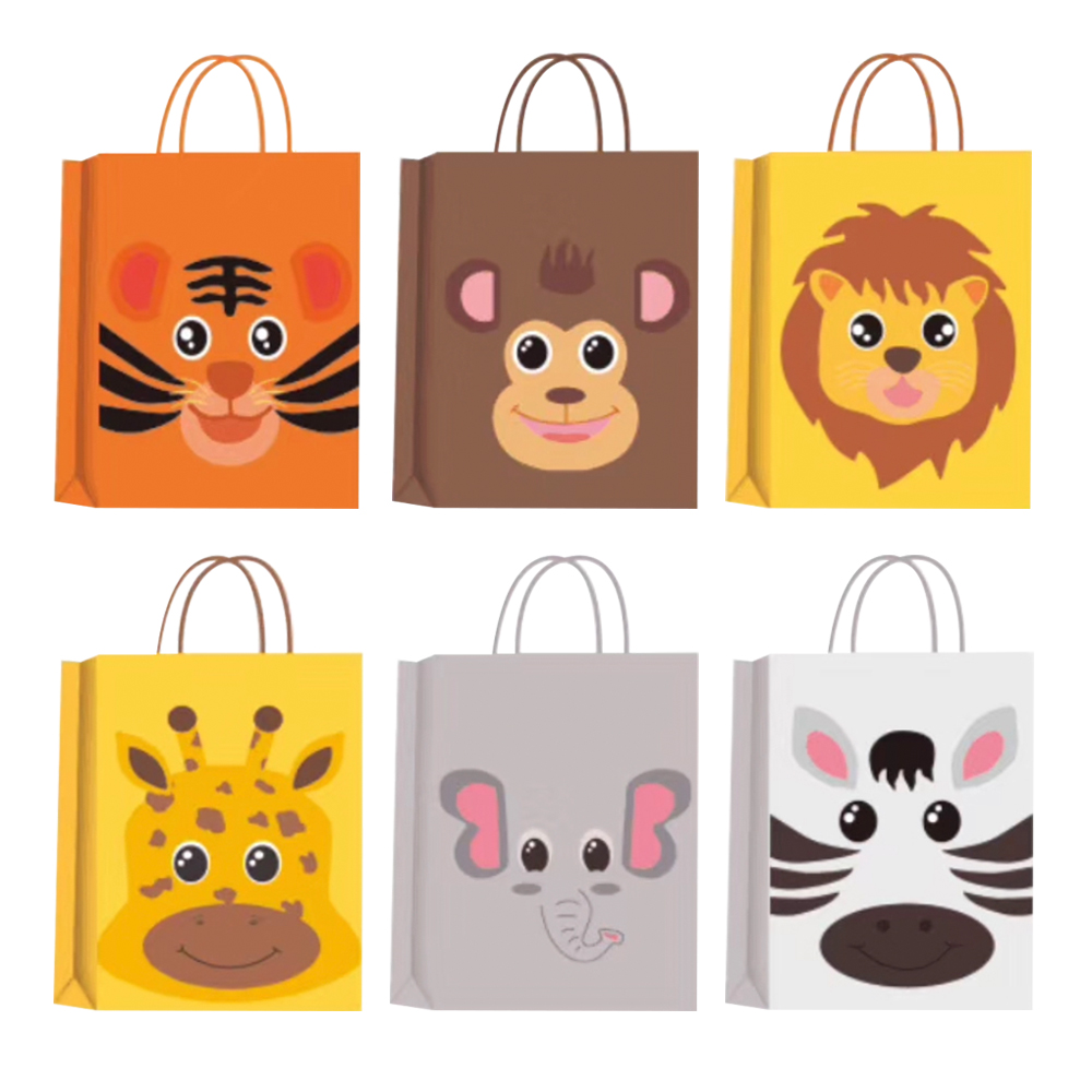 5Pcs Jungle Safari Animal Zoo Happy Birthday Party Paper Candy Box Kids Gift Cookies Packaging Bags Baby Shower Decor Supplies