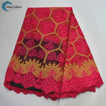 Lace-Fabric Embroidery French-Net Dresses Mesh High-Quality African 5-Yards/pcs Alisa