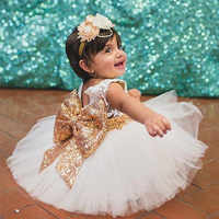 Vestidos de fiesta para niñas pequeñas, trajes bonitos con nudo de lazo, Vestidos de bautismo de princesa, ropa de verano, 1 año de cumpleaños